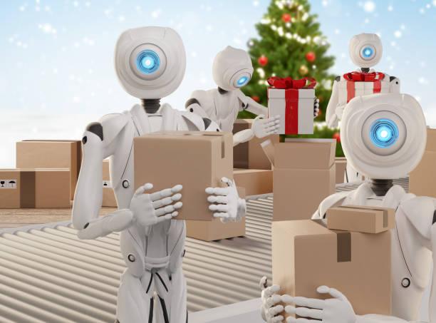Weihnachten präsentiert Logistik Pack Geschenke versandfertig mit autonomen Robotern 3d-Illustration – Foto
