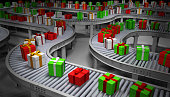 Christmas Presents on Conveyor Belts