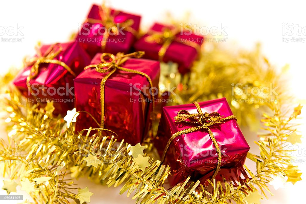 christmas presents on white background royalty-free stock photo