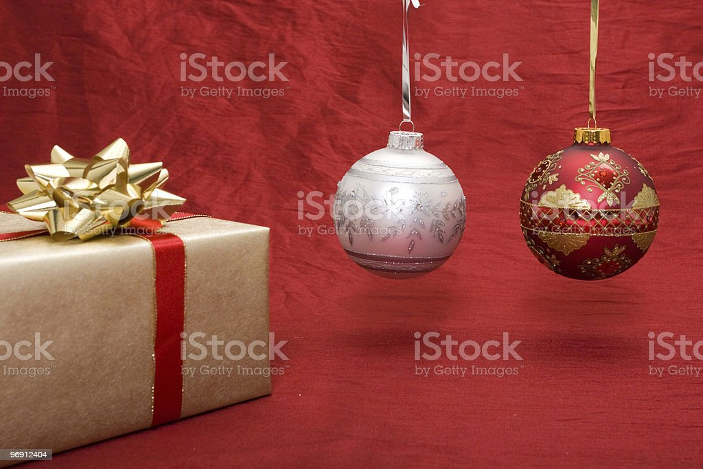 Christmas presents with baubles royalty-free stock photo
