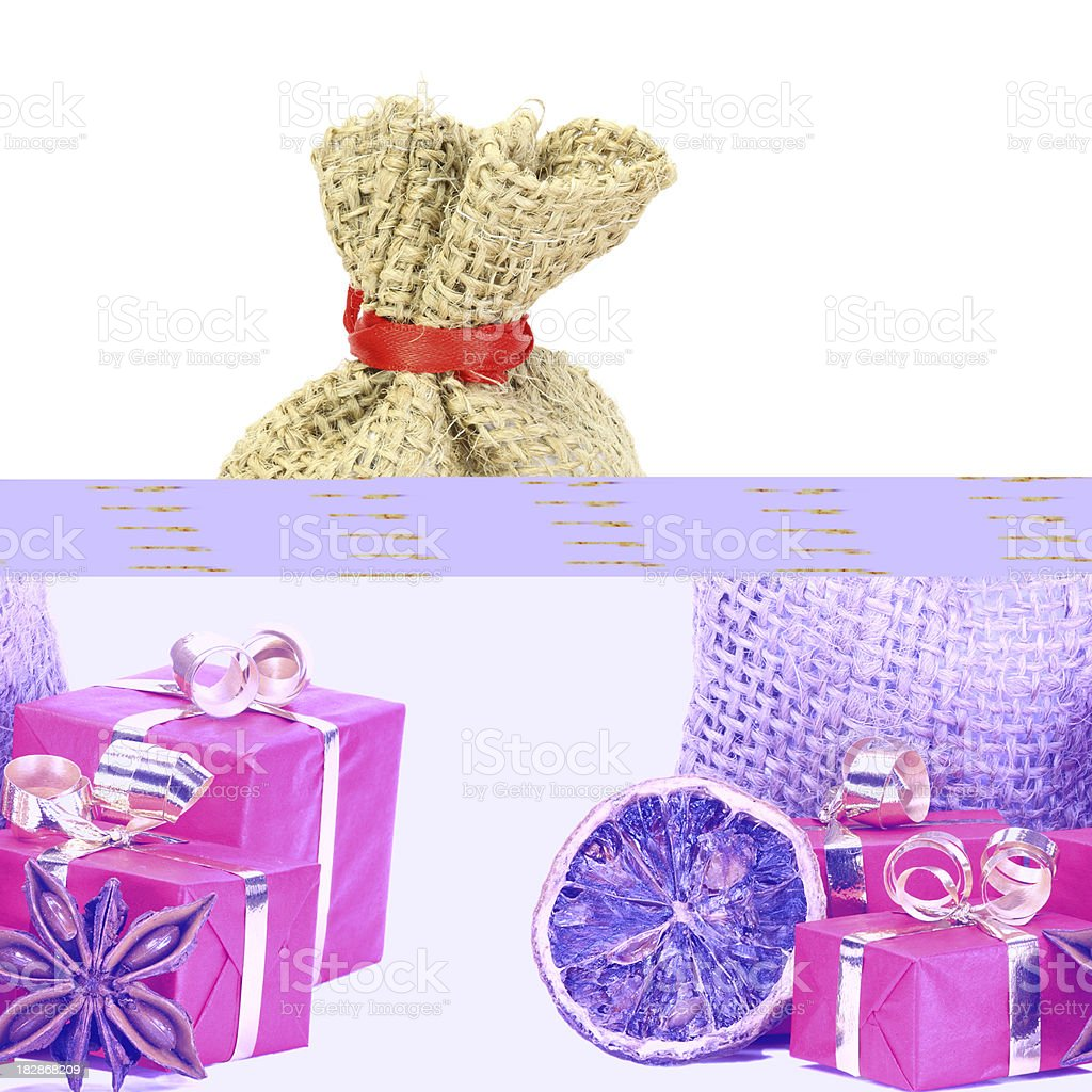 christmas presents with decorations isolated on white royalty-free stock photo
