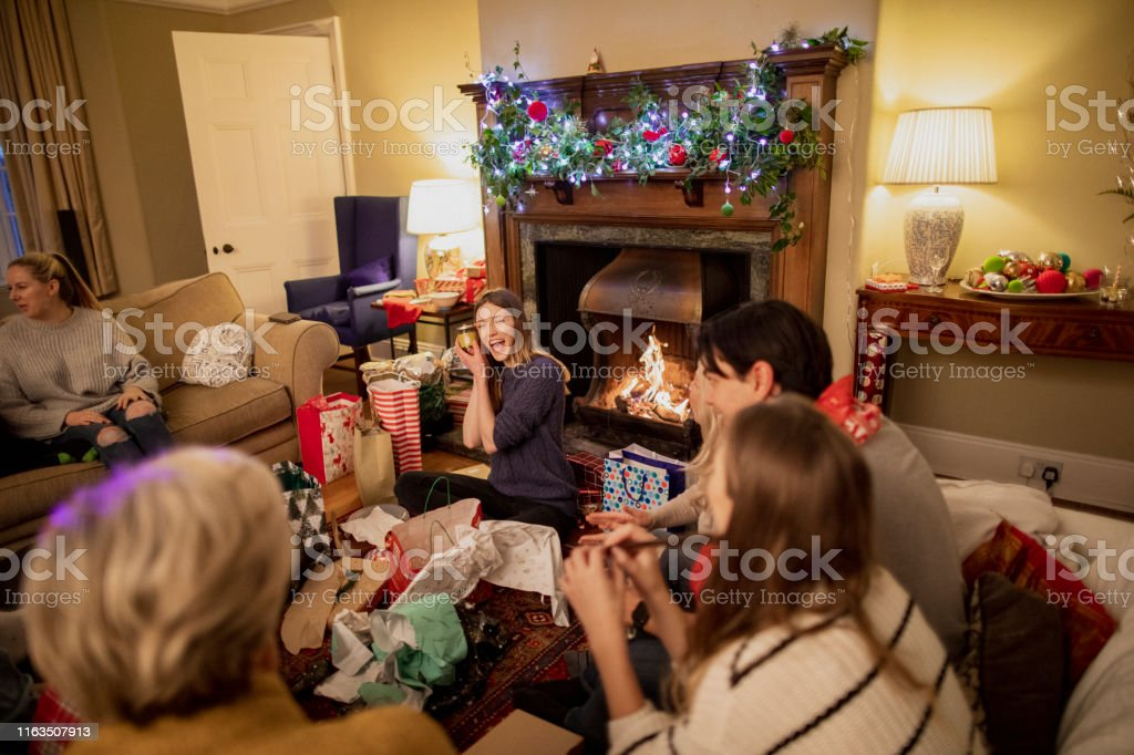 Christmas Presents With Friends Stock Photo Download Image Now