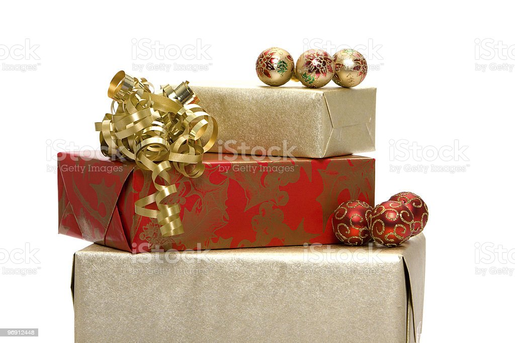 Christmas presents with ornaments royalty-free stock photo