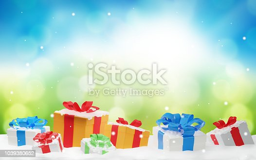 istock christmas presents with snow and snowflakes 3d-illustration christmas background 1039380652