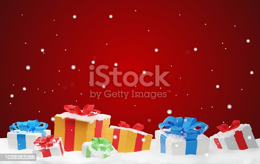 istock christmas presents with snow and snowflakes 3d-illustration christmas background 1039383386