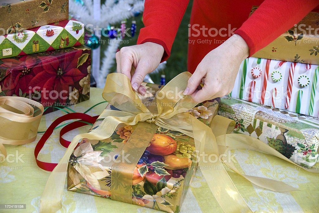 Christmas Presents Wrapping royalty-free stock photo