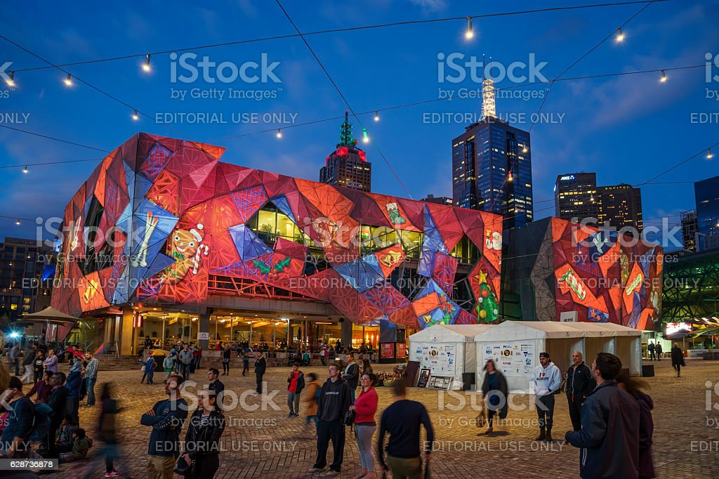 Christmas projections at Federation Square, Melbourne stock photo