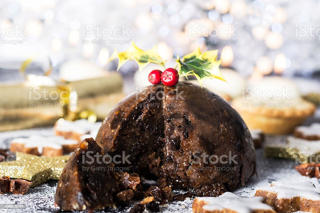 Christmas pudding and mince pies stock photo