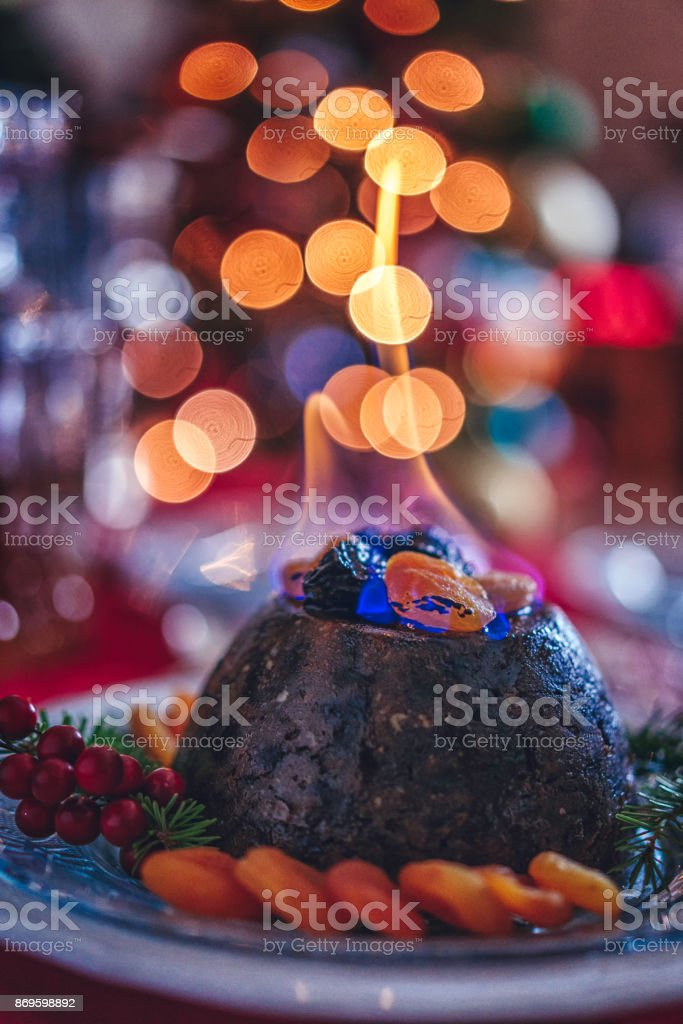 Christmas Pudding Dessert for Traditional Holiday Dinner stock photo