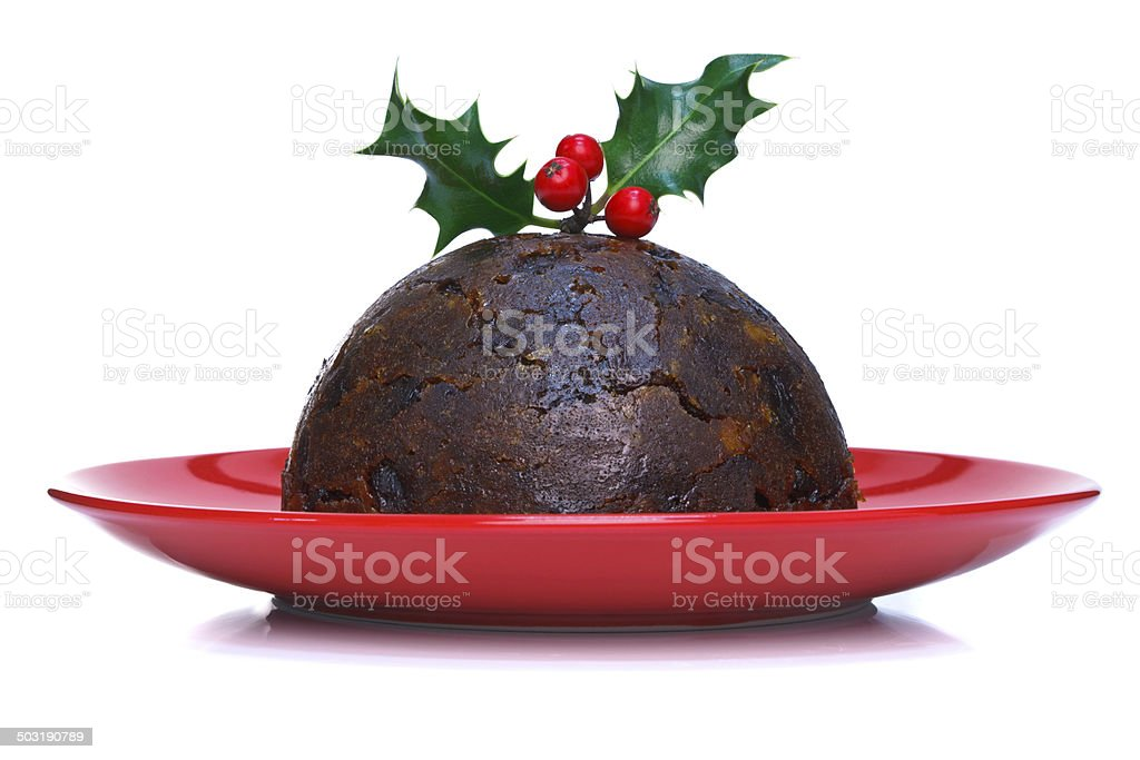 Christmas pudding isolated stock photo