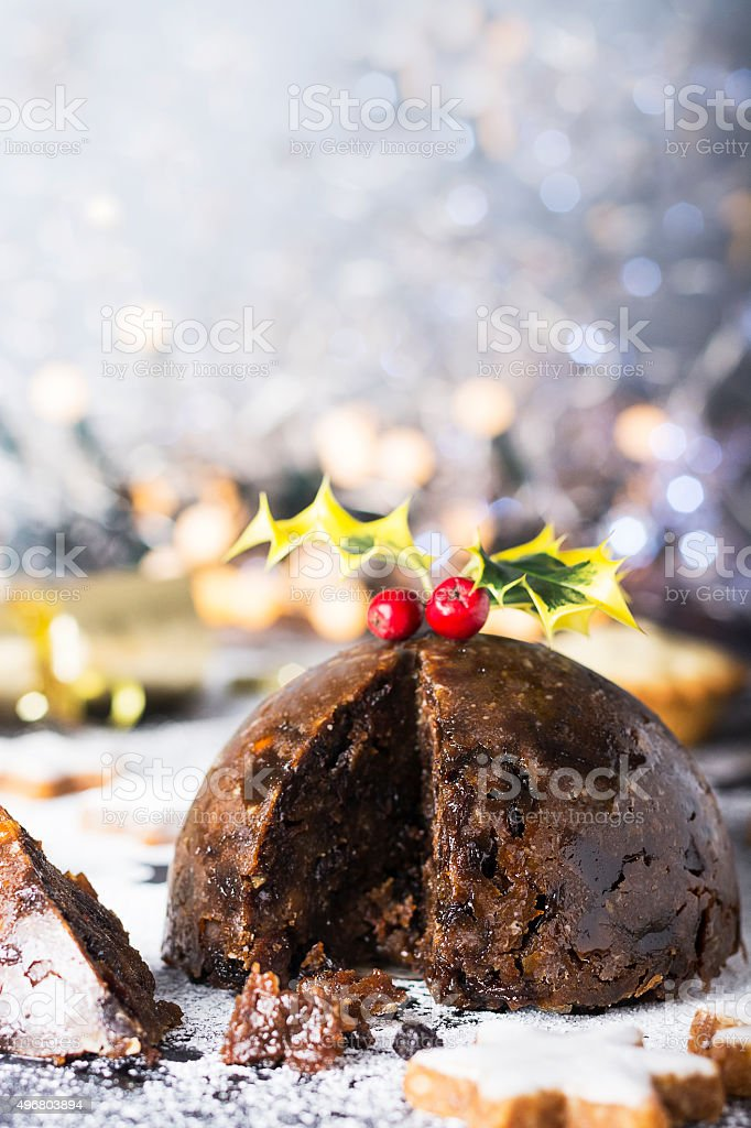 Christmas Pudding, mince pies and Cookies stock photo