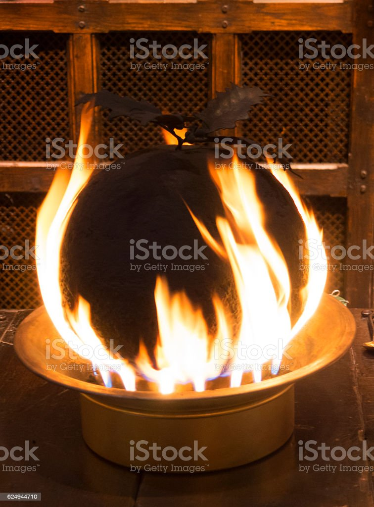Christmas Pudding On Fire.Christmas Pudding On Fire Stock Photo Download Image Now