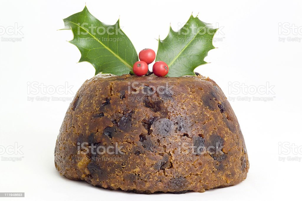 Christmas pudding on white background stock photo