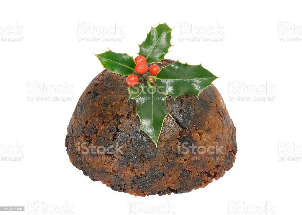 christmas pudding on white stock photo