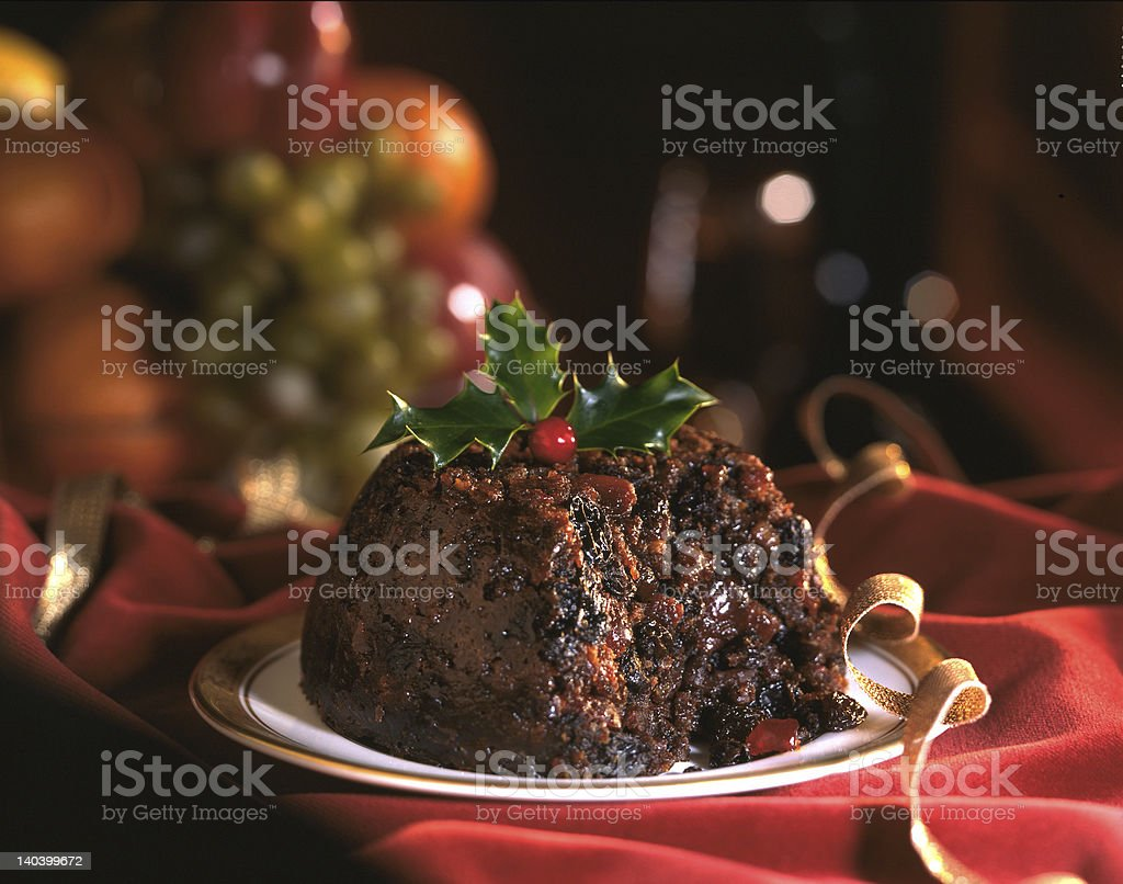 Christmas pudding stock photo