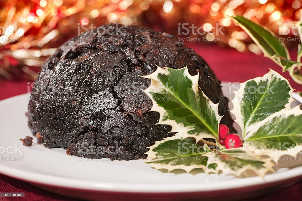 Christmas Pudding with holly royalty-free stock photo