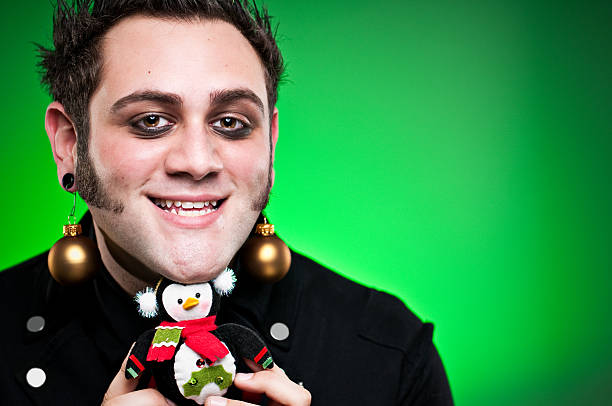 christmas punk with ornament - punk music stock photos and pictures
