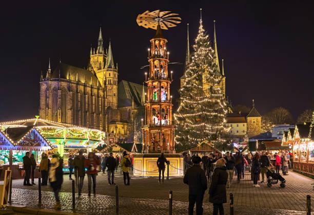 Christmas pyramid at Christmas market in Erfurt, Germany stock photo