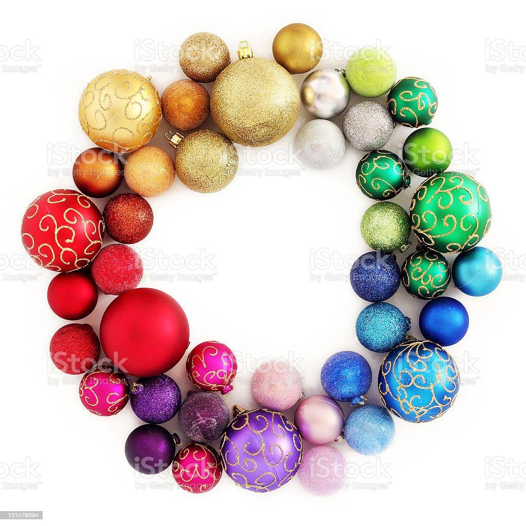 Christmas rainbow wreath decoration on white stock photo