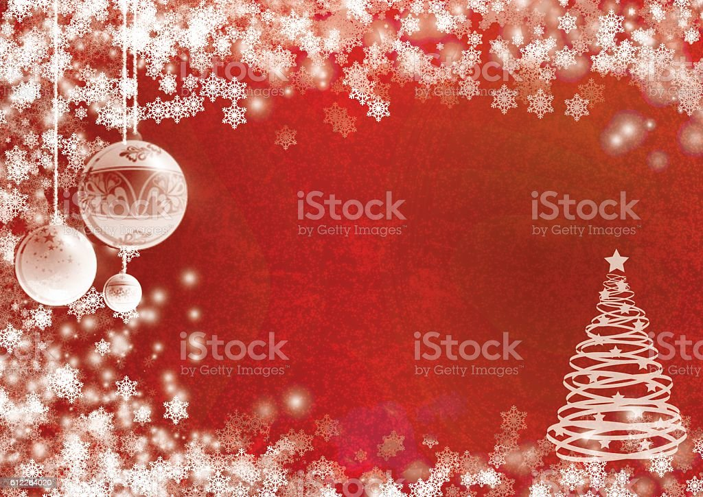 Christmas red background with snowflakes and pinetree stock photo