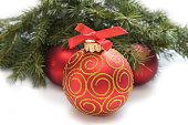 istock Christmas red ball, twig of fir , beads 485881418