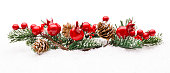 istock Christmas Red Berries Decoration, Berry Branch Pine Tree Cone Isolated 614847078