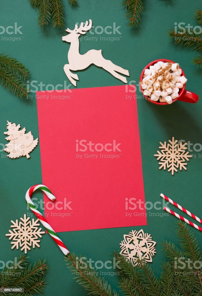 christmas red blank for letter to santa or your wishlist or advent activities on green