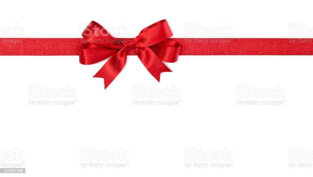 Christmas Red Bow Ribbon Isolated on White Background