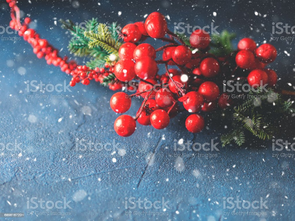 Christmas red branch snow fall greeting card royalty-free stock photo