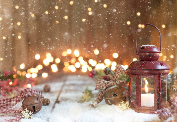 Christmas Red Lantern on an Old Wood Background - foto stock