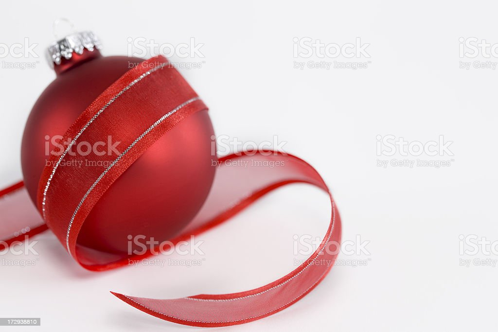 Christmas Red Ornament in Ribbon, On White, Copy Space stock photo