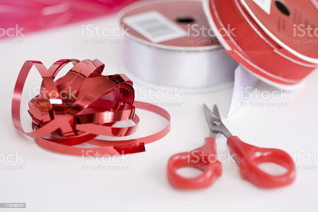 Christmas Red Ribbon, Wrapping Paper, and Scissors, Copy Space stock photo