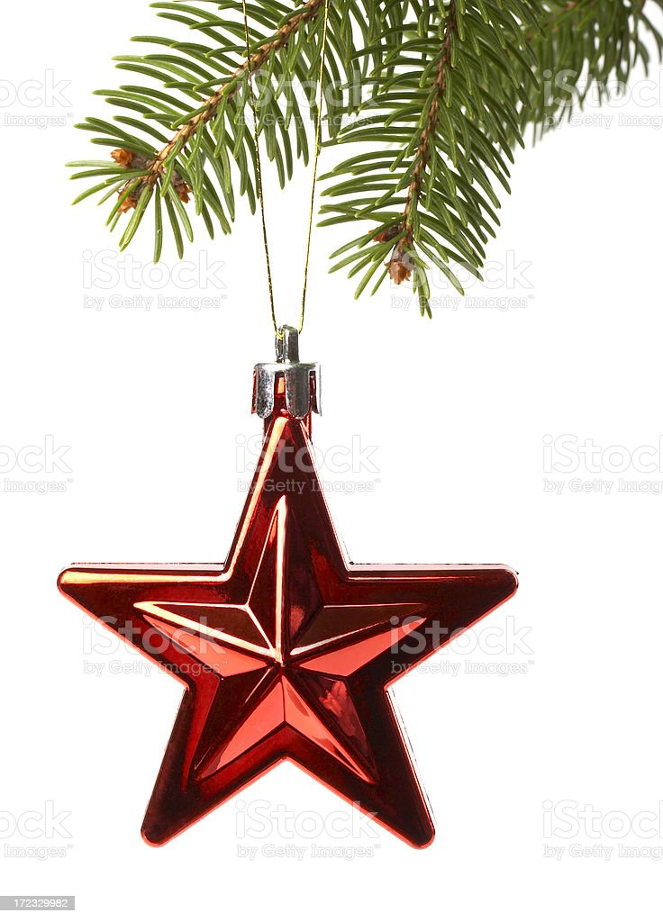 Christmas Red star on spruce branch royalty-free stock photo