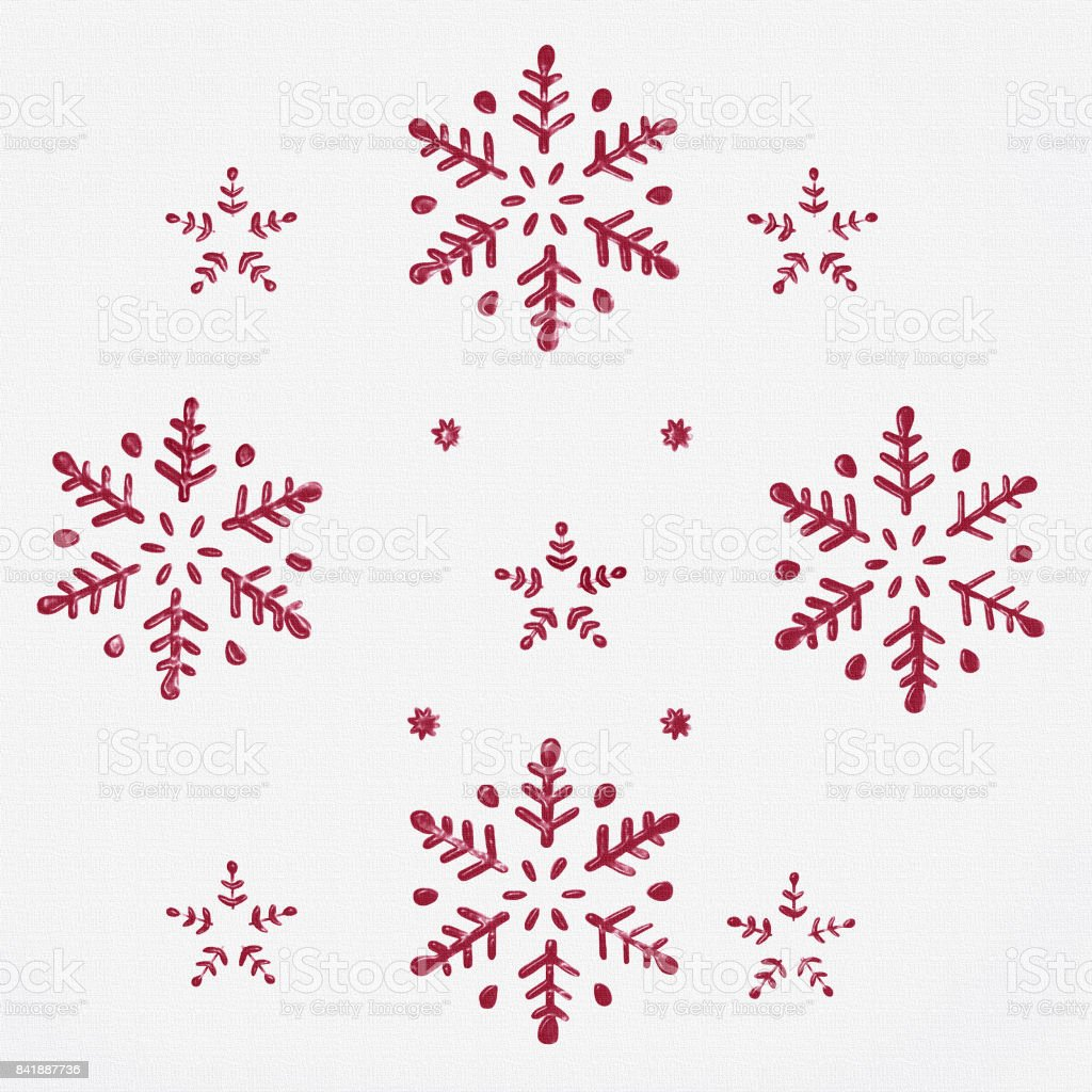 Christmas Red Stars and Snowflakes Background stock photo