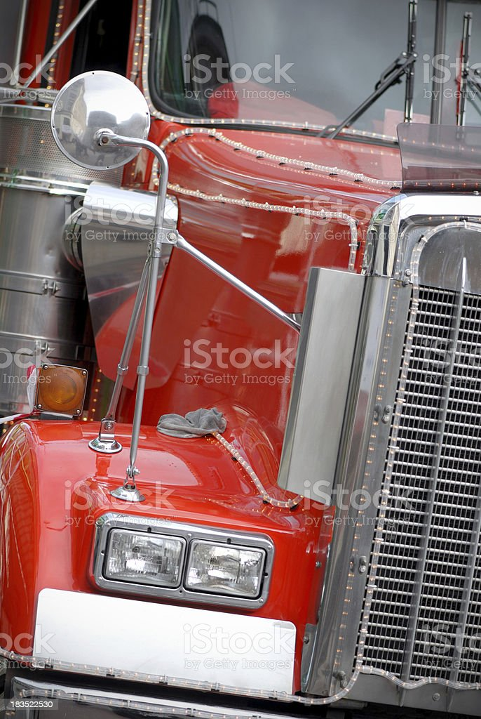 Christmas red truck stock photo
