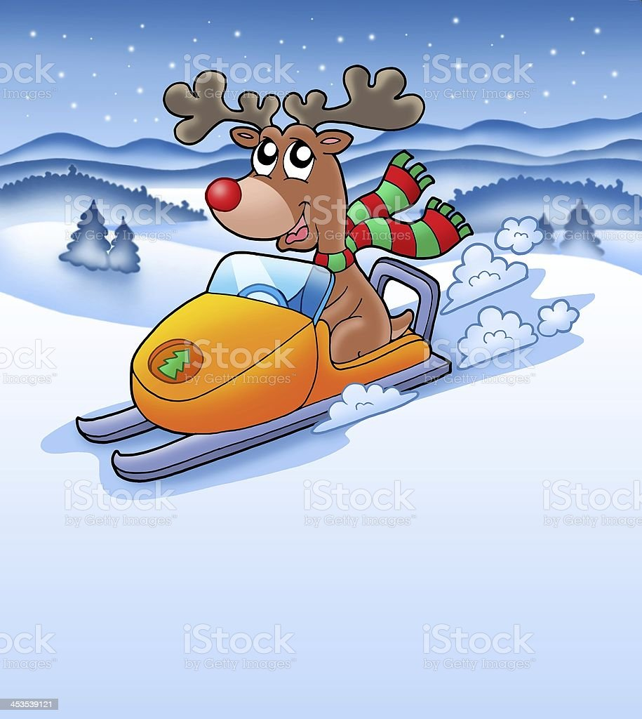 Christmas reindeer in snowy landscape royalty-free stock photo