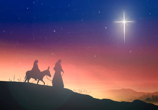 Christmas religious nativity concept Silhouette pregnant Mary and Joseph with a donkey on star of cross background religion stock pictures, royalty-free photos & images