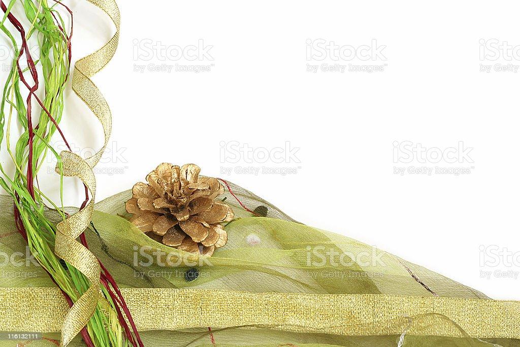 christmas ribbon and pine cone border royalty-free stock photo