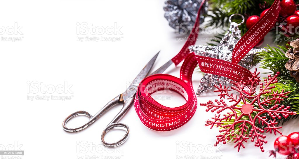 christmas ribbon scissors decorations border design royalty free stock photo