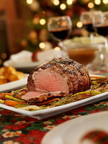 Christmas Roast Beef Dinner  roasted prime rib stock pictures, royalty-free photos & images