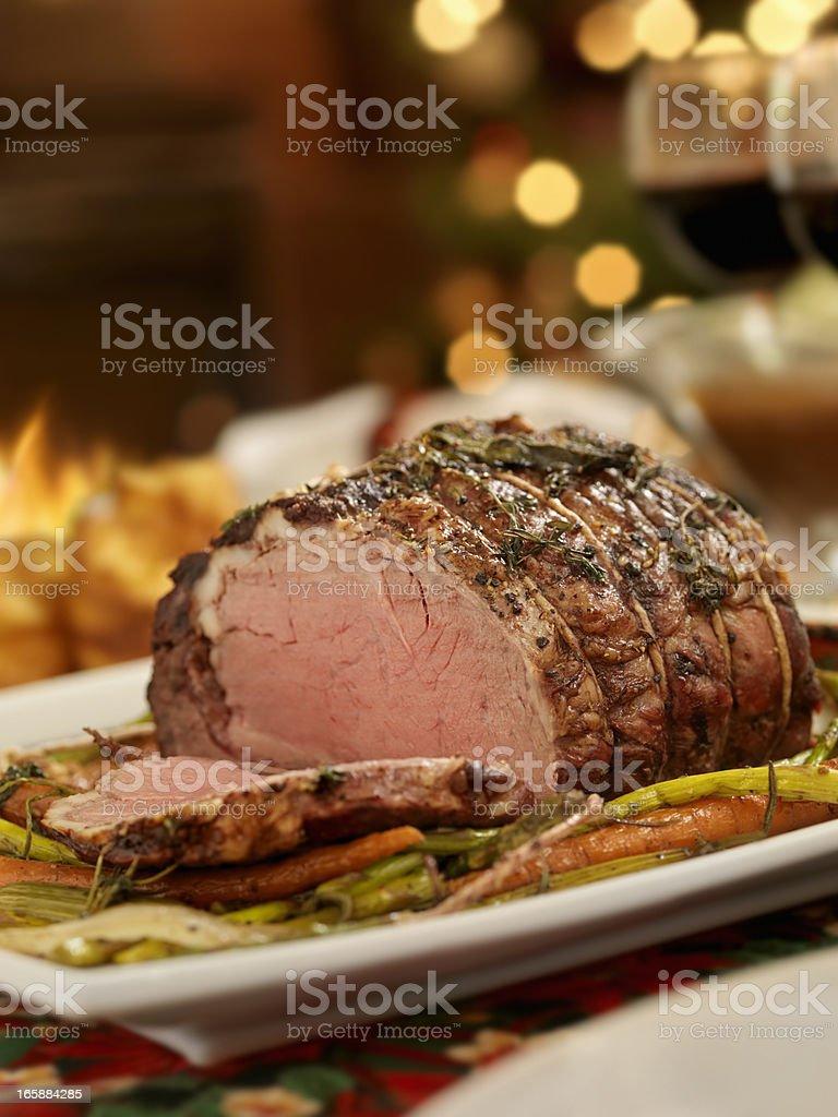 Christmas Roast Beef Dinner royalty-free stock photo