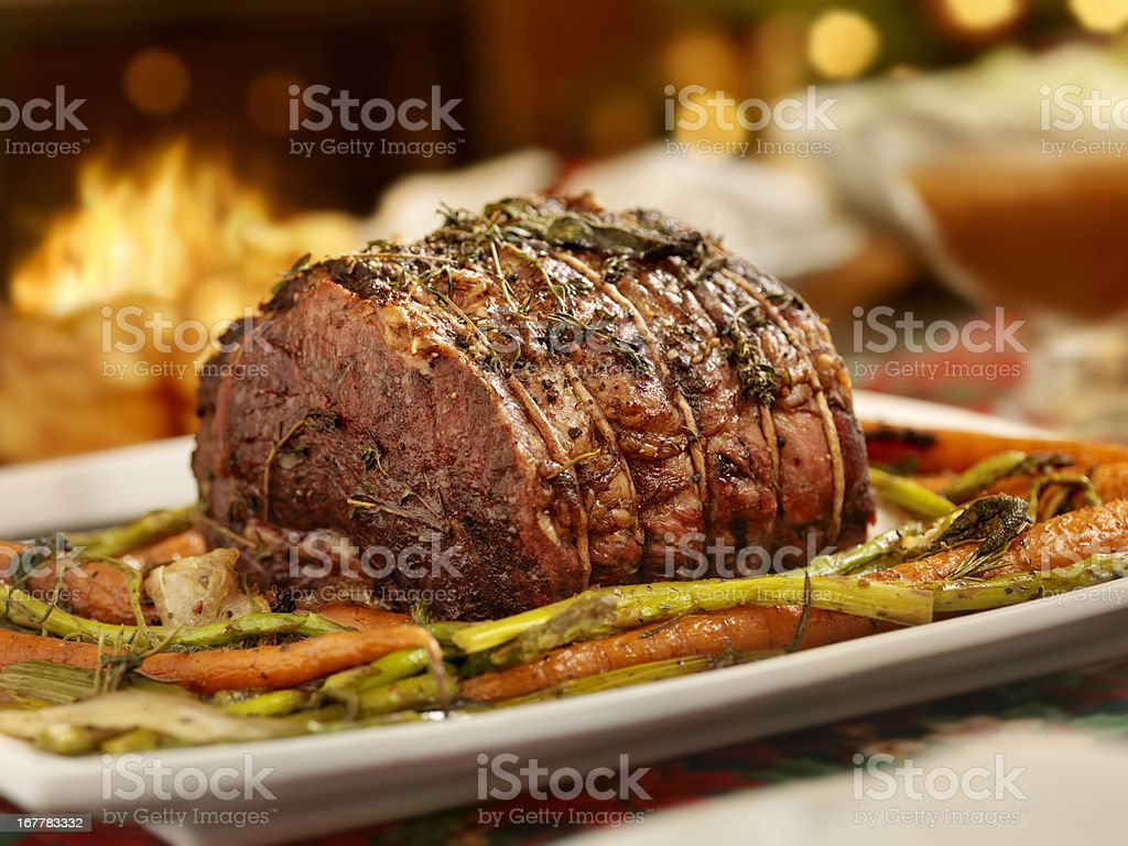 christmas roast beef dinner royalty free stock photo