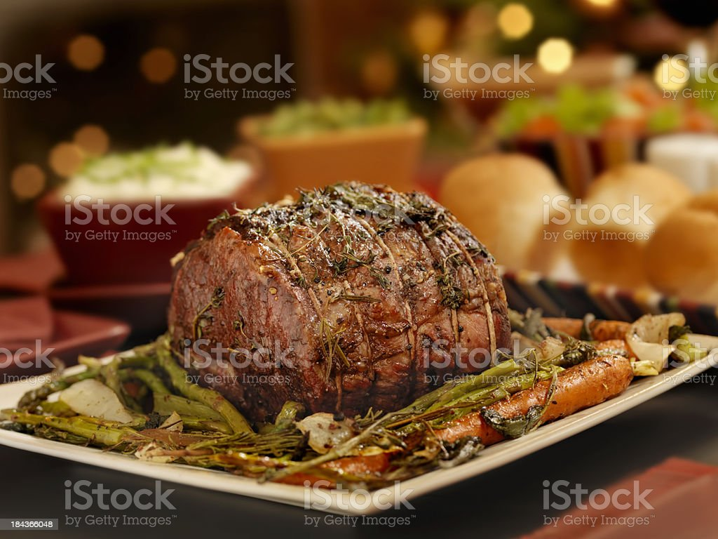 Christmas Roast Beef.Christmas Roast Beef Dinner Stock Photo Download Image Now