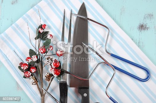 istock Christmas roast turkey carving utensils set 522397407