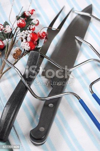 istock Christmas roast turkey carving utensils set 522397409