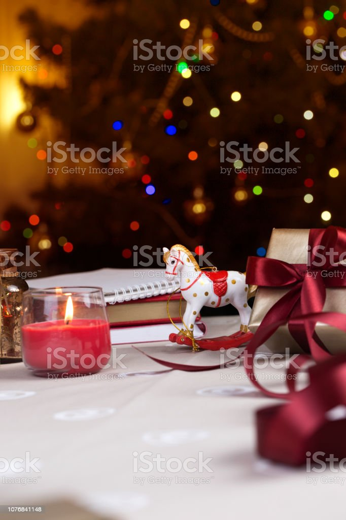 A Christmas Rocking Horse Wooden Horse Christmas Decoration Background For A Greeting Card Toy Rocking White Horse Stock Photo Download Image Now Istock