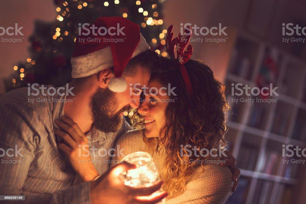 Christmas romance stock photo