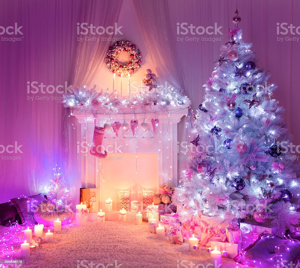Christmas Room Fireplace Tree Lights Xmas Home Interior Decoration Pink Stock Photo Download Image Now Istock