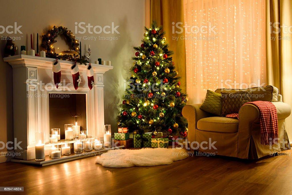 Christmas room interior design - foto de acervo