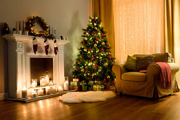 christmas room interior design - christmas tree stock photos and pictures